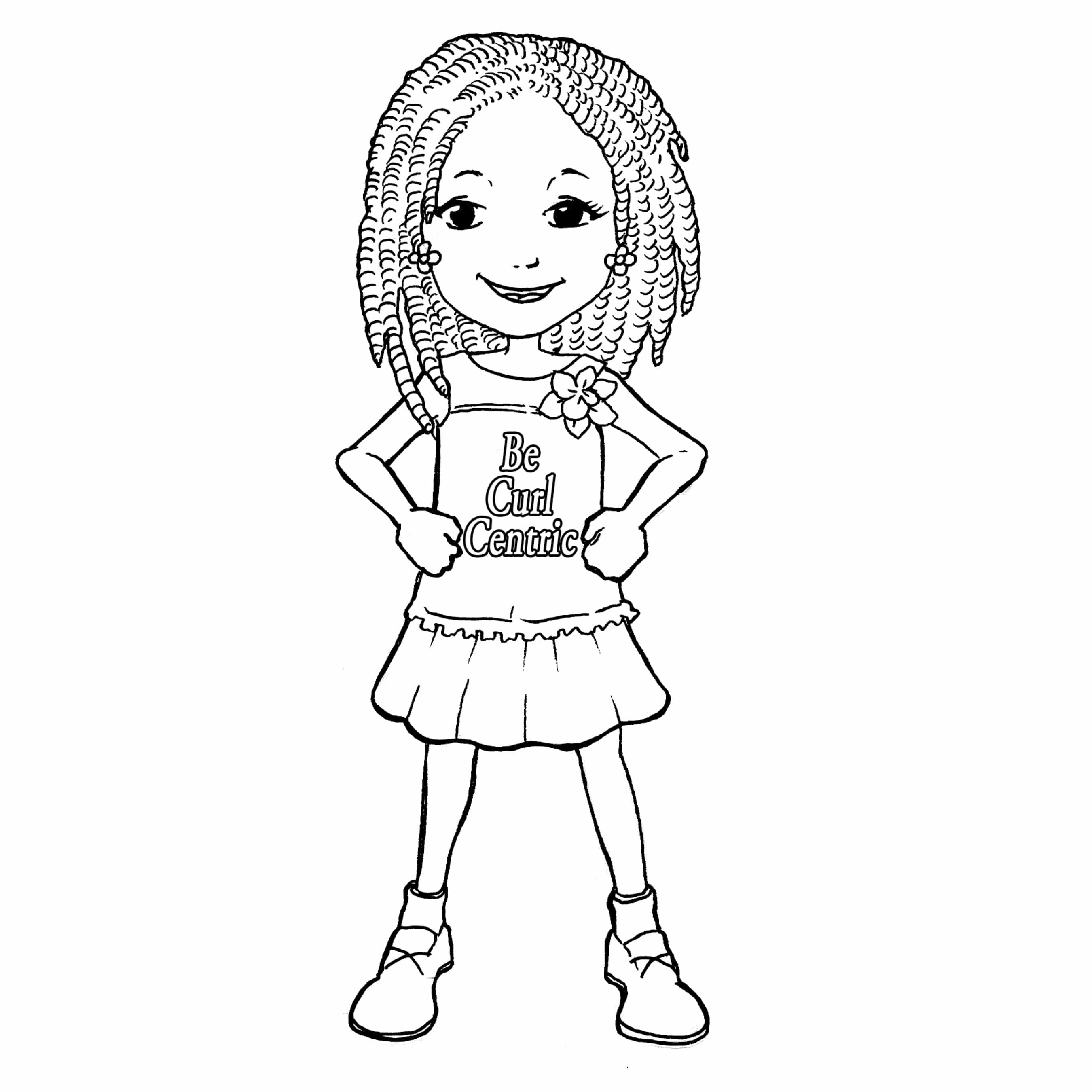 Curly Hair Girl Coloring Page