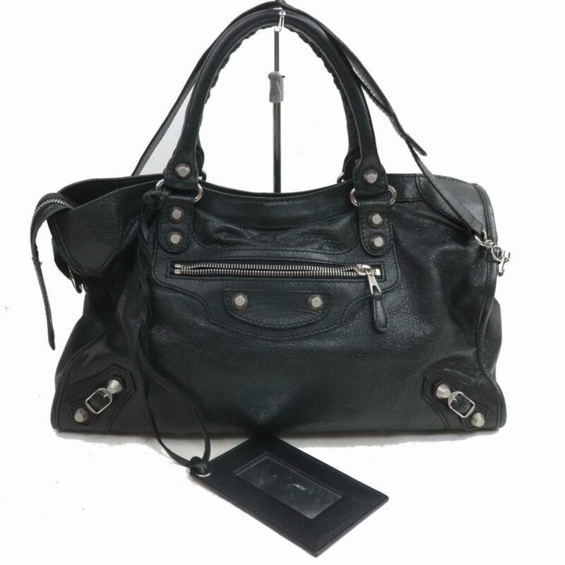 Balenciaga Hand Bag Giant Silver City Black Leather