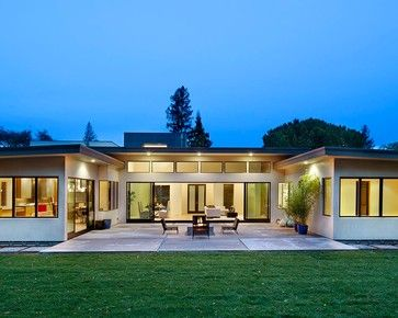 If Howard Roark Were Going To Build A Homethis Is The Home He Would Build Modern Patio With Images U Shaped House Plans U Shaped Houses Pool House Plans