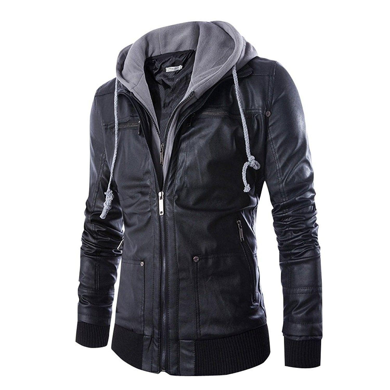 Men S Clothing Jackets Coats Leather Faux Leather Men S Faux Leather Jacket Hooded Cas Faux Leather Jacket Men Jackets Men Fashion Leather Jacket Hoodie [ 1500 x 1500 Pixel ]