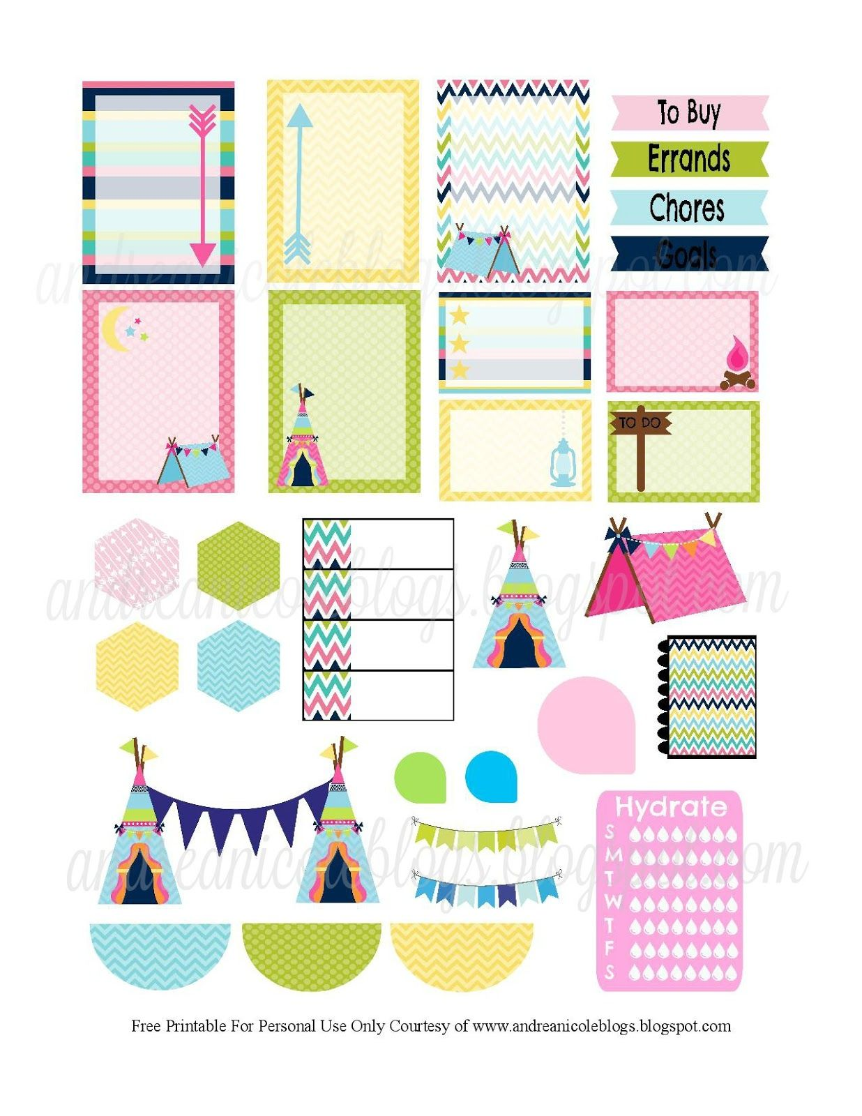 Andrea Nicole Blogs Glamping Planner Page Decor Free Printable ...
