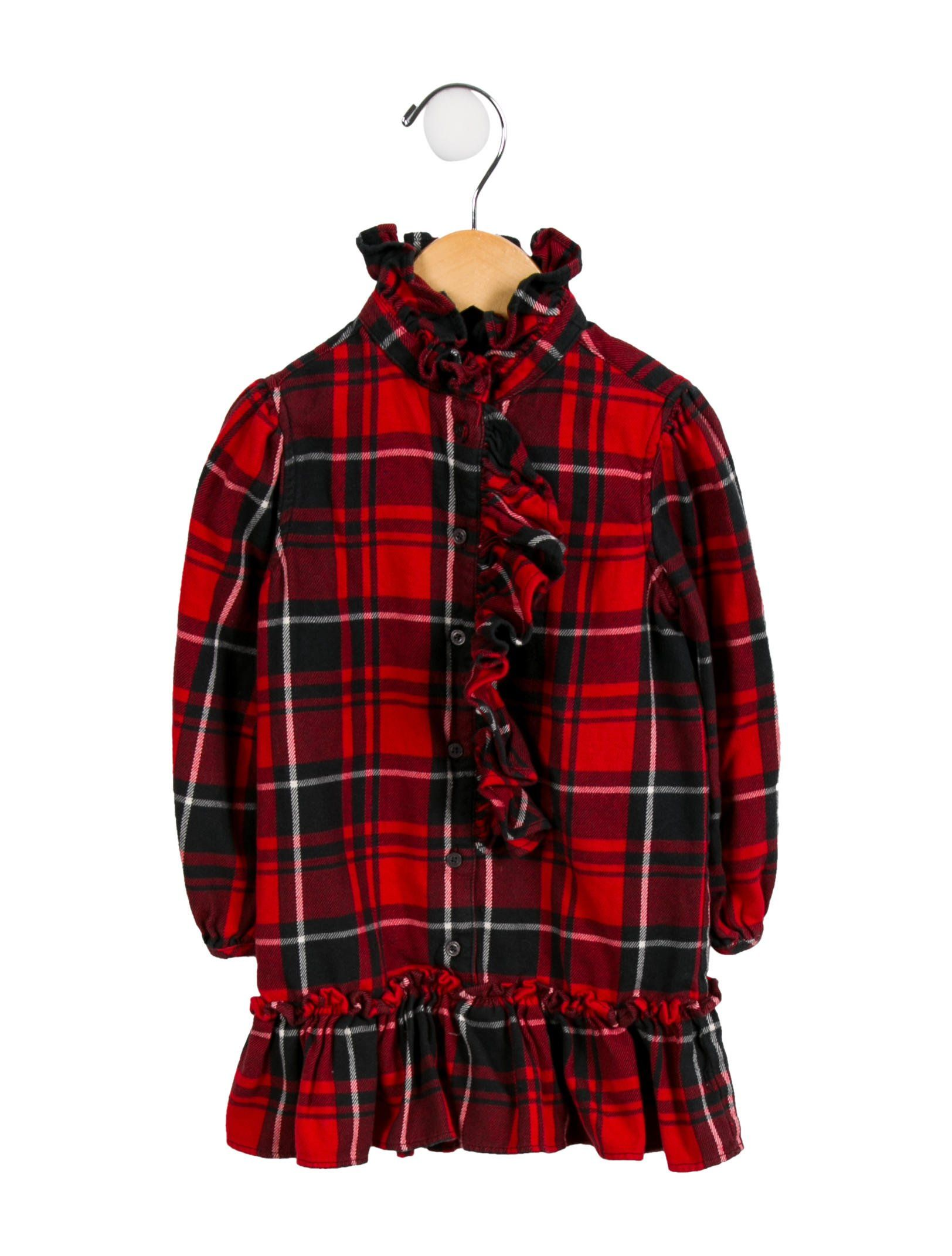 8498cbc70 Girls' red, black and white Ralph Lauren plaid dress with long sleeves,  ruffled trim and button closures at center front. Machine washable.