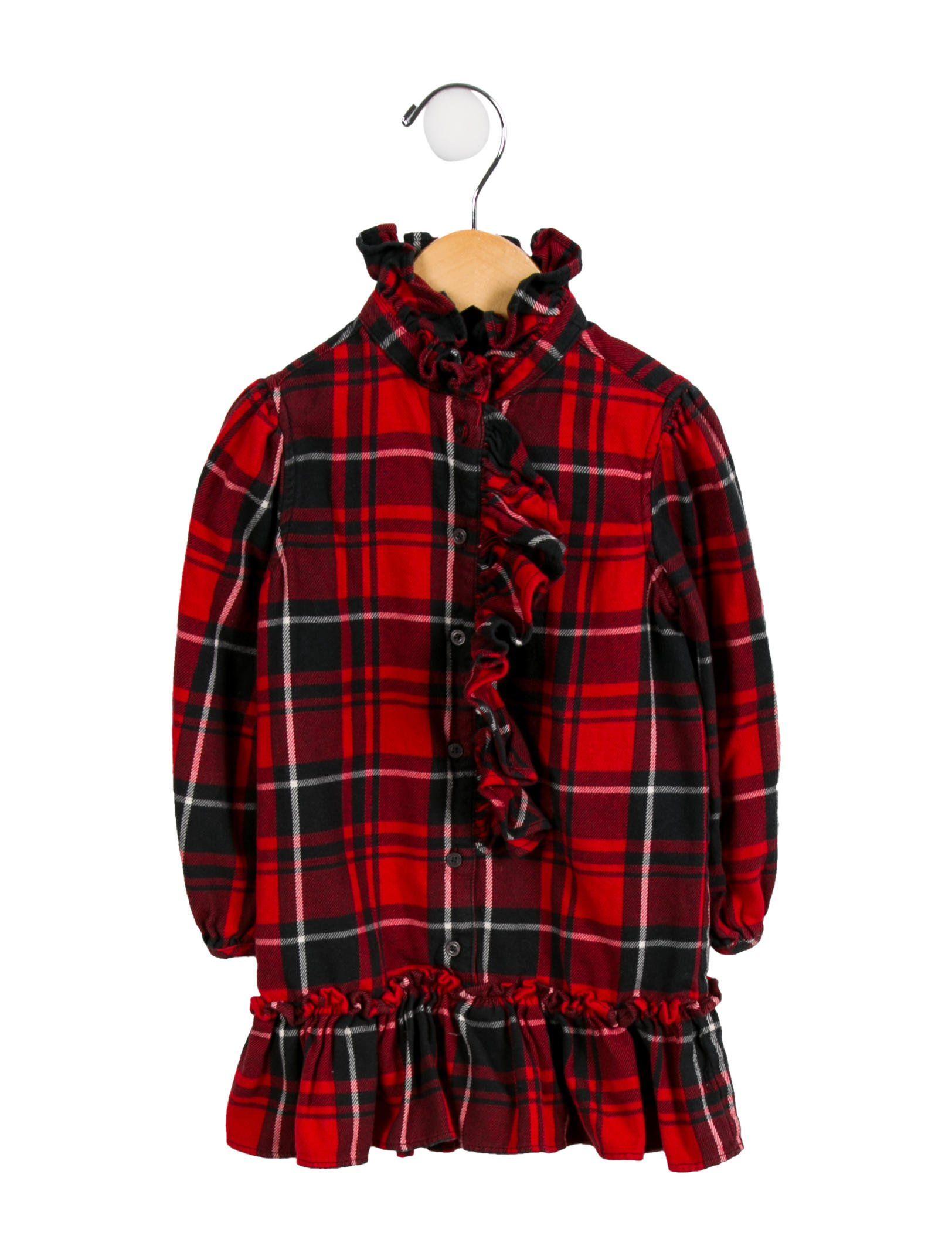 Ralph lauren girlsu plaid ruffleaccented dress fashion