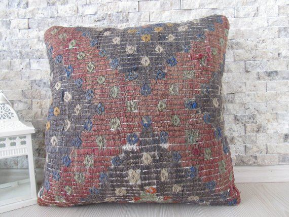 Embroidery Design Kilim Pillow Cover Handmade Cushion 16x16 Home