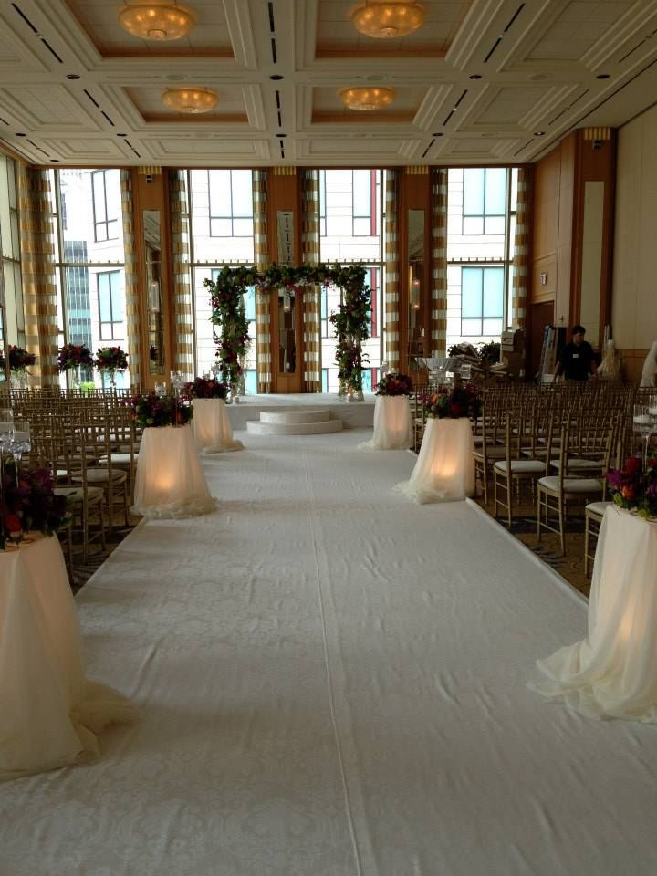Artquest, Ltd aisle & chuppah design at the Peninsula Hotel, Chicago.   Check us out on Facebook and Instagram at artquestltd for more!