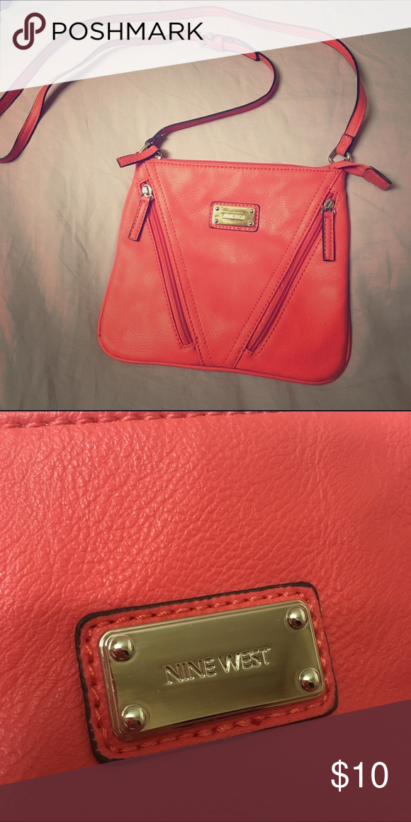 0161e807fc Crossbody Purse Salmon colored leather purse with long strap. In great  condition and hardly used. Nine West Bags Crossbody Bags