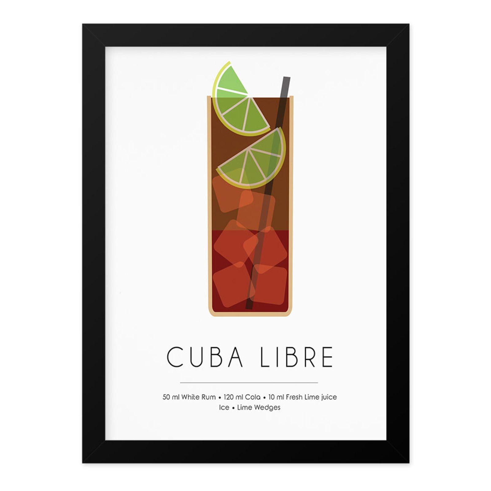 Quadro Adoraria A4 Drink Bebida Coquetel Cuba Libre Preto #cubalibre