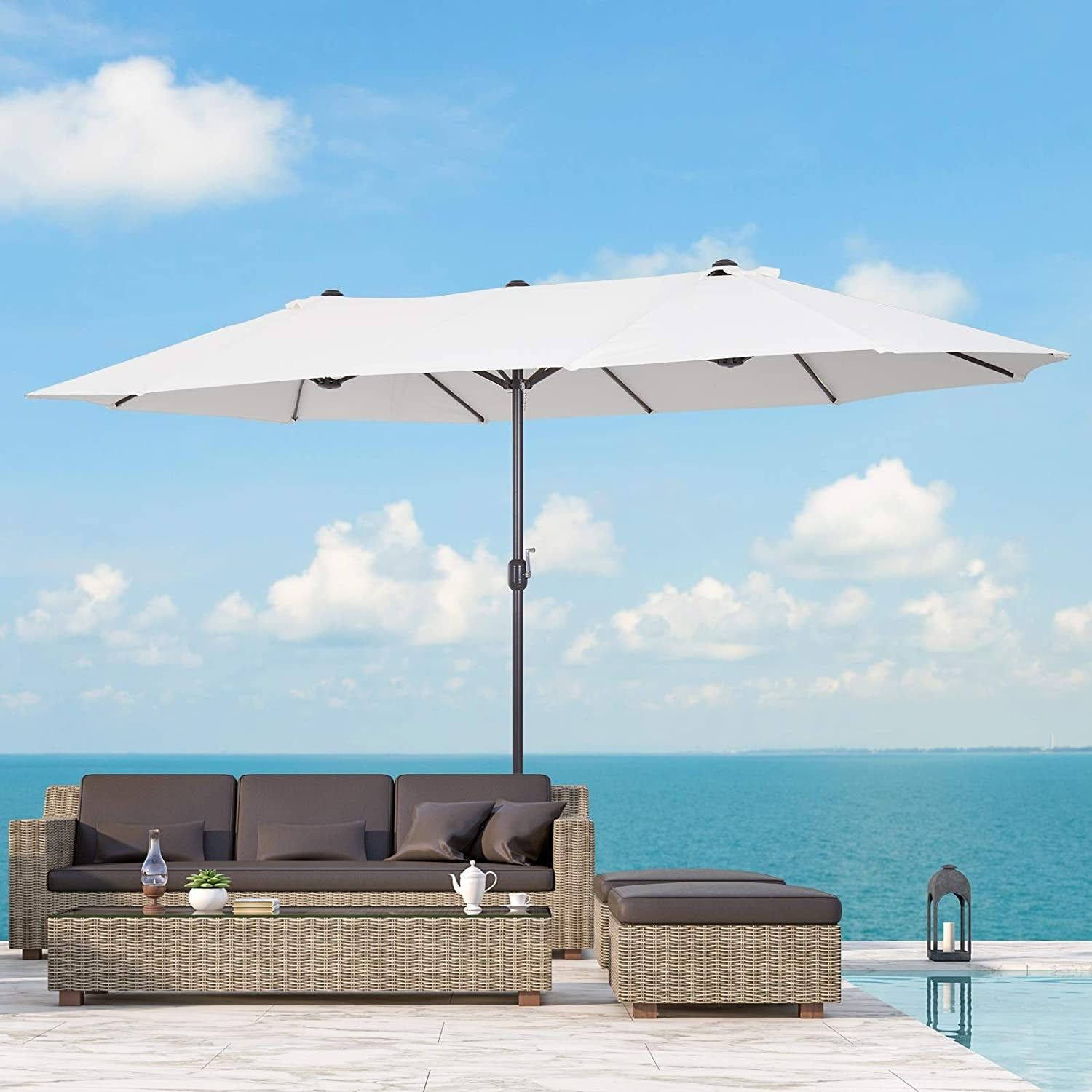 Outsunny 15 Foot Steel Rectangular Double Sided Market Umbrella In 2021 Patio Umbrella Patio Best Patio Umbrella 15 foot patio umbrella