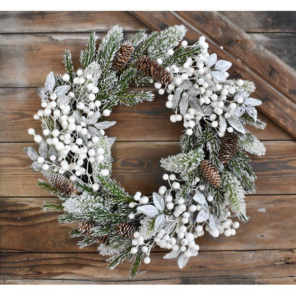 Snow Tipped Pine Berry 22 Plastic Wreath Winter Wreath Holiday Wreaths Christmas Decorations