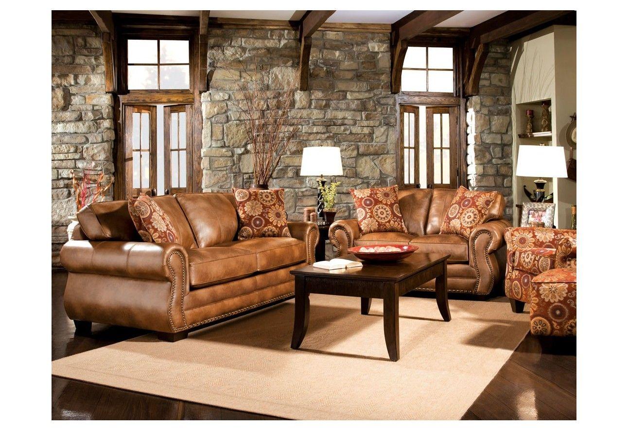 Caramel Color Leather Three Piece Sofa Set Portland Oregon ...