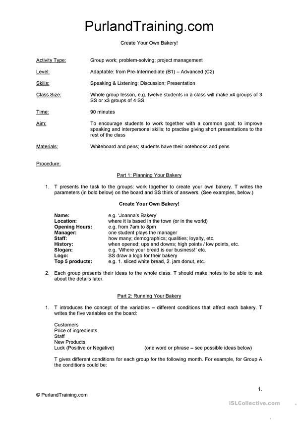 Printable Worksheets create your own printable worksheets : Create Your Own Bakery (ELT Lesson Plan) | Learn English ...