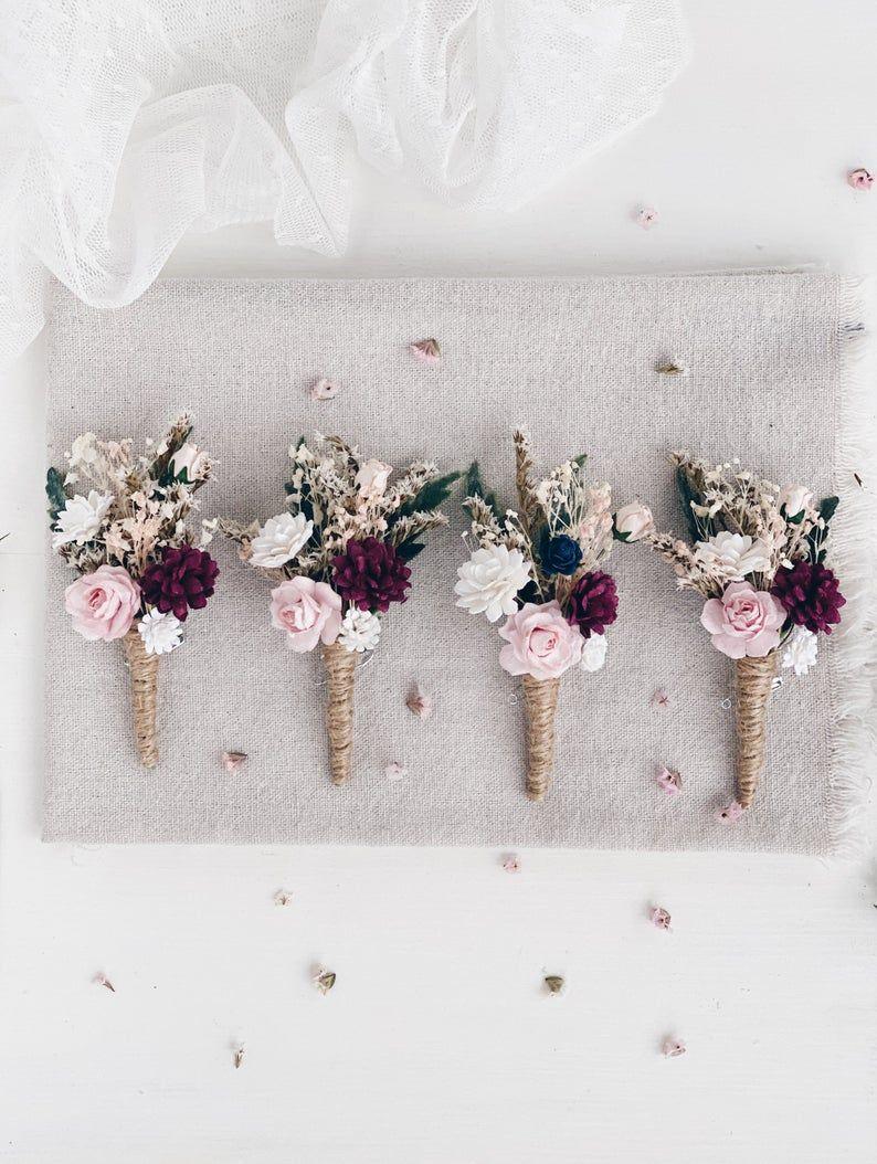 Flower Boutonniere for men, Winter Burgundy Blush Wedding Boutonniere
