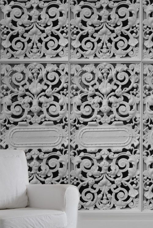Pierrot et Coco - White Cast Iron design Wall Panels / Wallpaper, £70.00 (http://www.pierrotetcoco.com/white-cast-iron-design-wall-panels-wallpaper/)