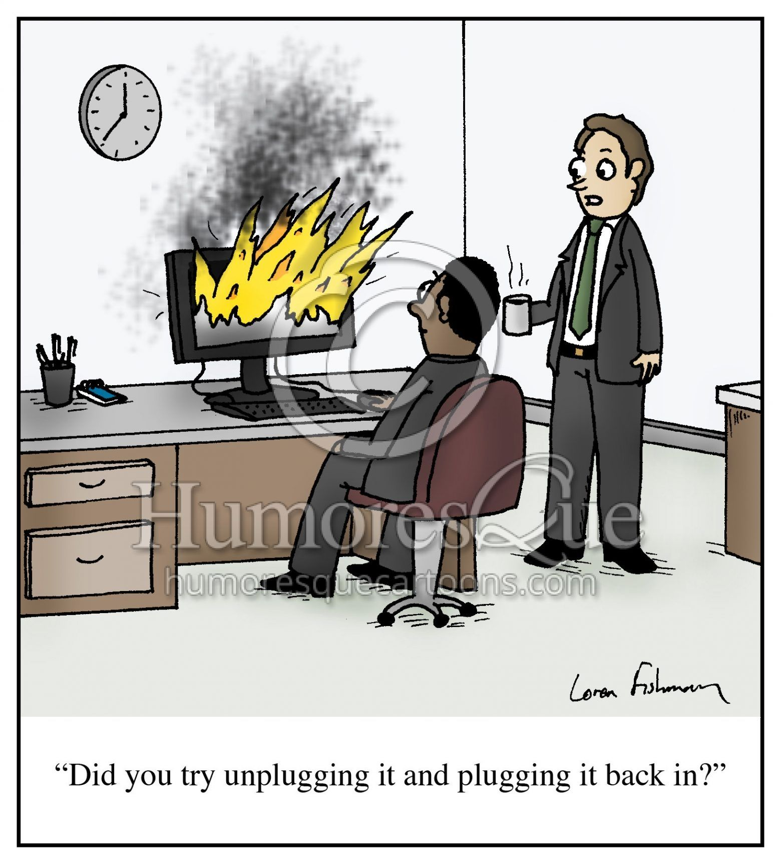 Cartoon Did You Try Unplugging It And Plugging It Back In Humoresque Cartoons Tech Humor Computer Humor Funny Cartoons