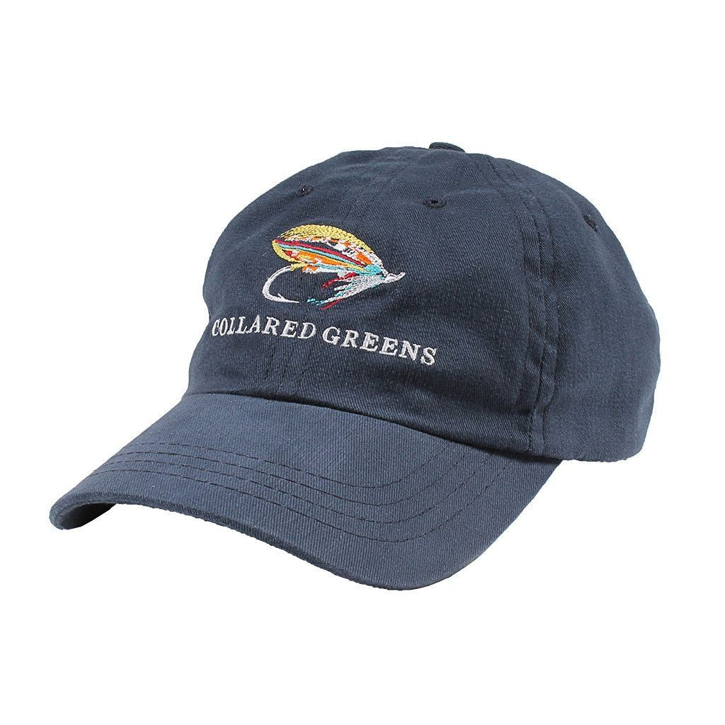 Fly fishing hat in navy by collared greens fly fishing for Trout fishing hats