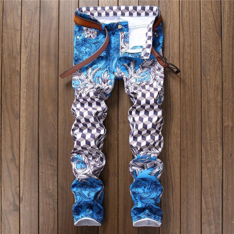 Jeans Pants Punk Style Gothic Painted DJ club Night Slim Leg Cool ...