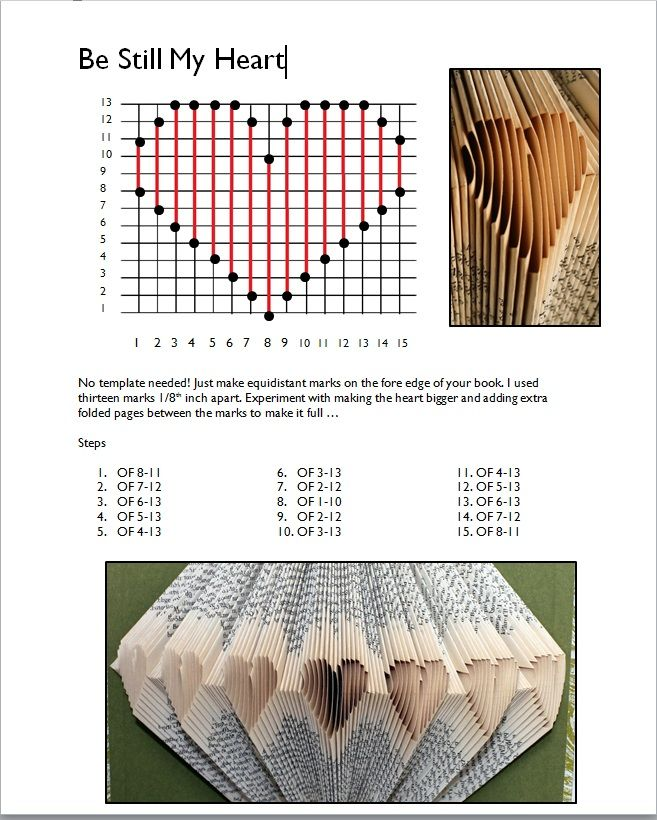 Folded Book Pattern Template Heart Books Book Pages Diy Wall