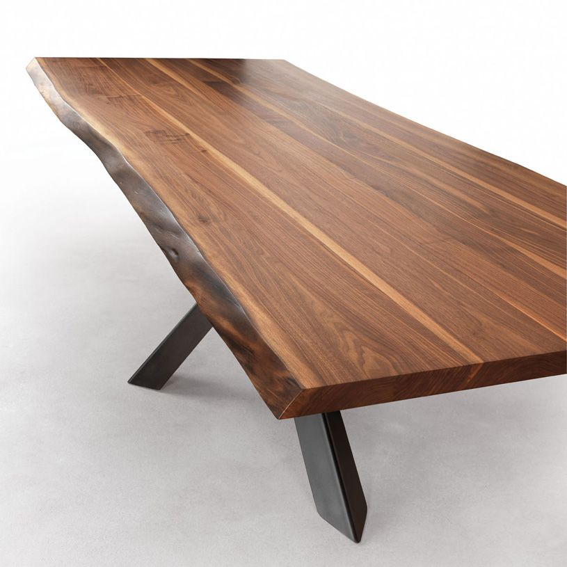 Velocity solid walnut dining table with live edges metal for Modern wood dining room table