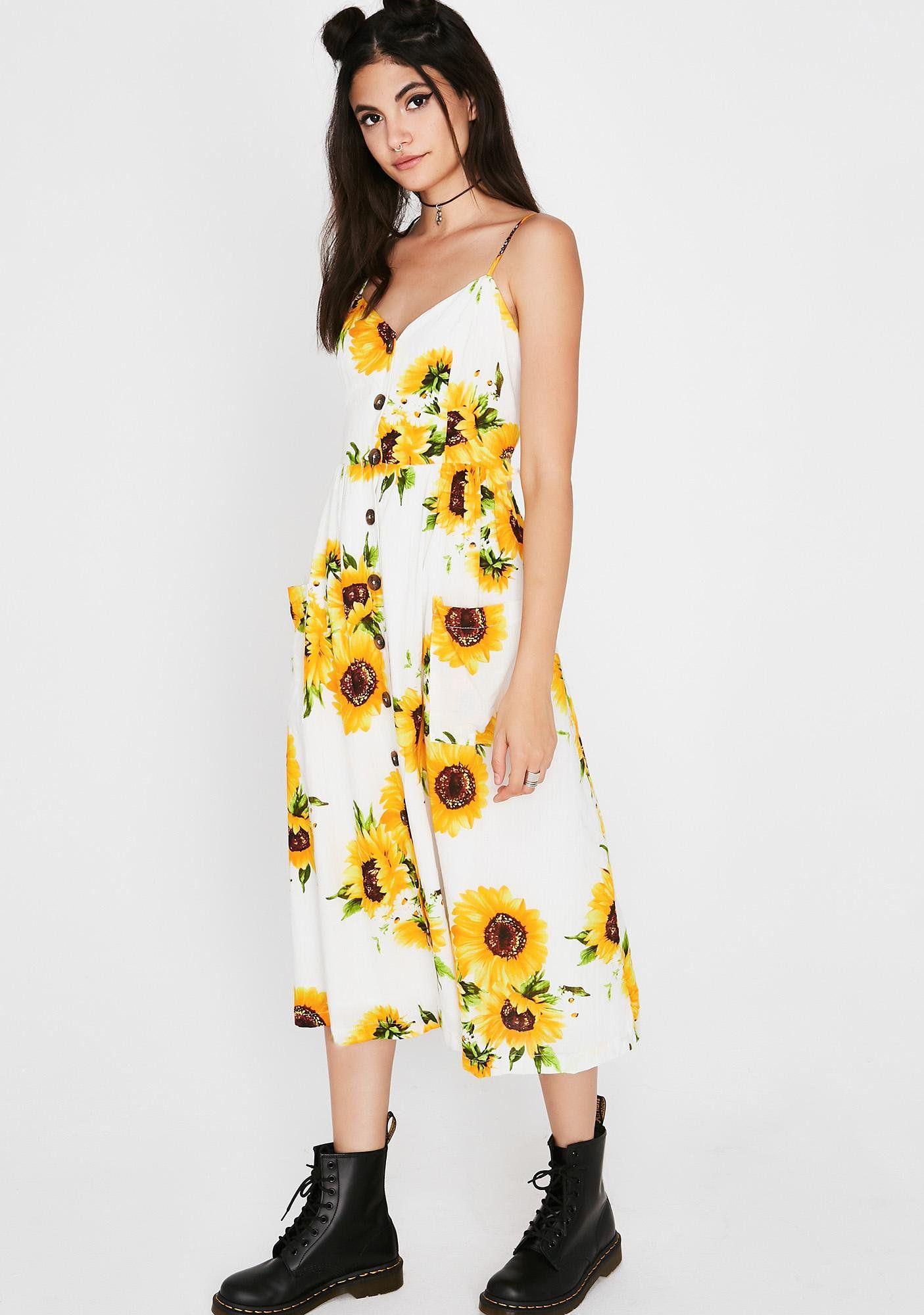 41537005e Sunflower Midi Dress | Dolls Kill#dollskill #newarrivals #frontrow  #springcollection #skirts #shorts #tshirts #accessories #dresses #sundresses