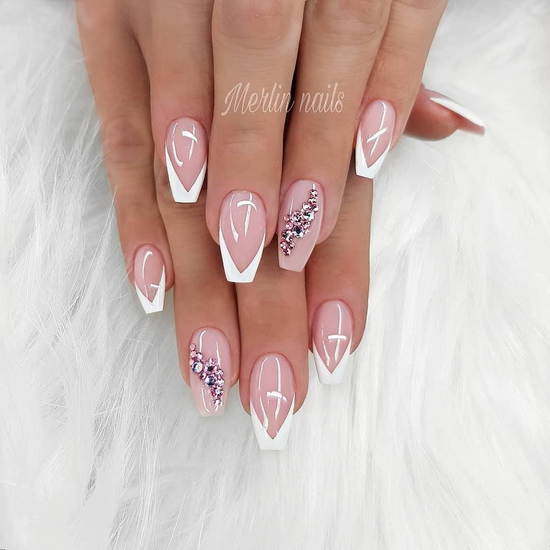 46 Gorgeous Coffin French Tip Nail Designs Elegant Nails Rhinestone Nails Nail Art Wedding