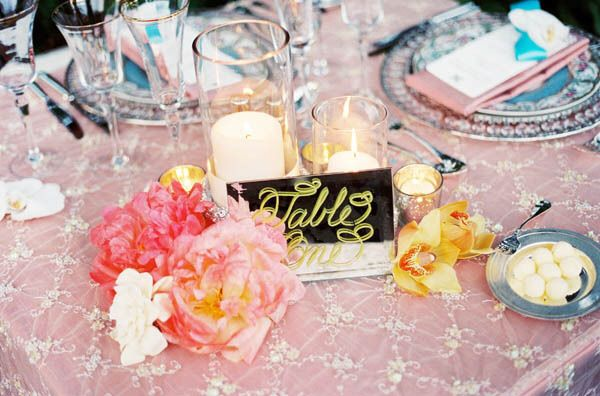 Sheer table linens with underlay Wildflower Linens