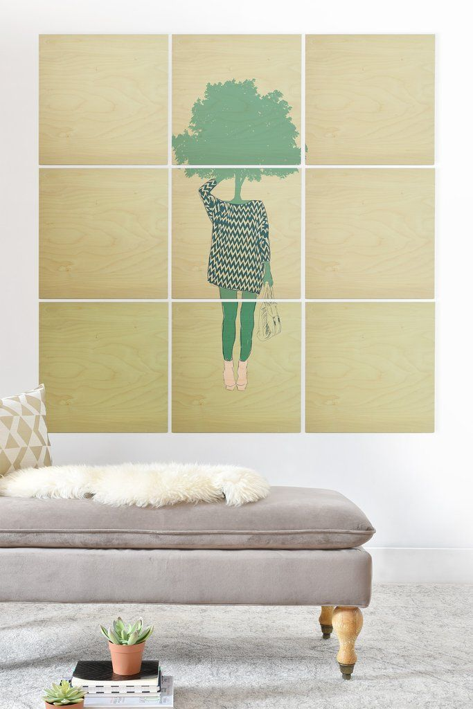 The Red Wolf Woman Nature 6 Wood Wall Mural | DENY Designs Home ...