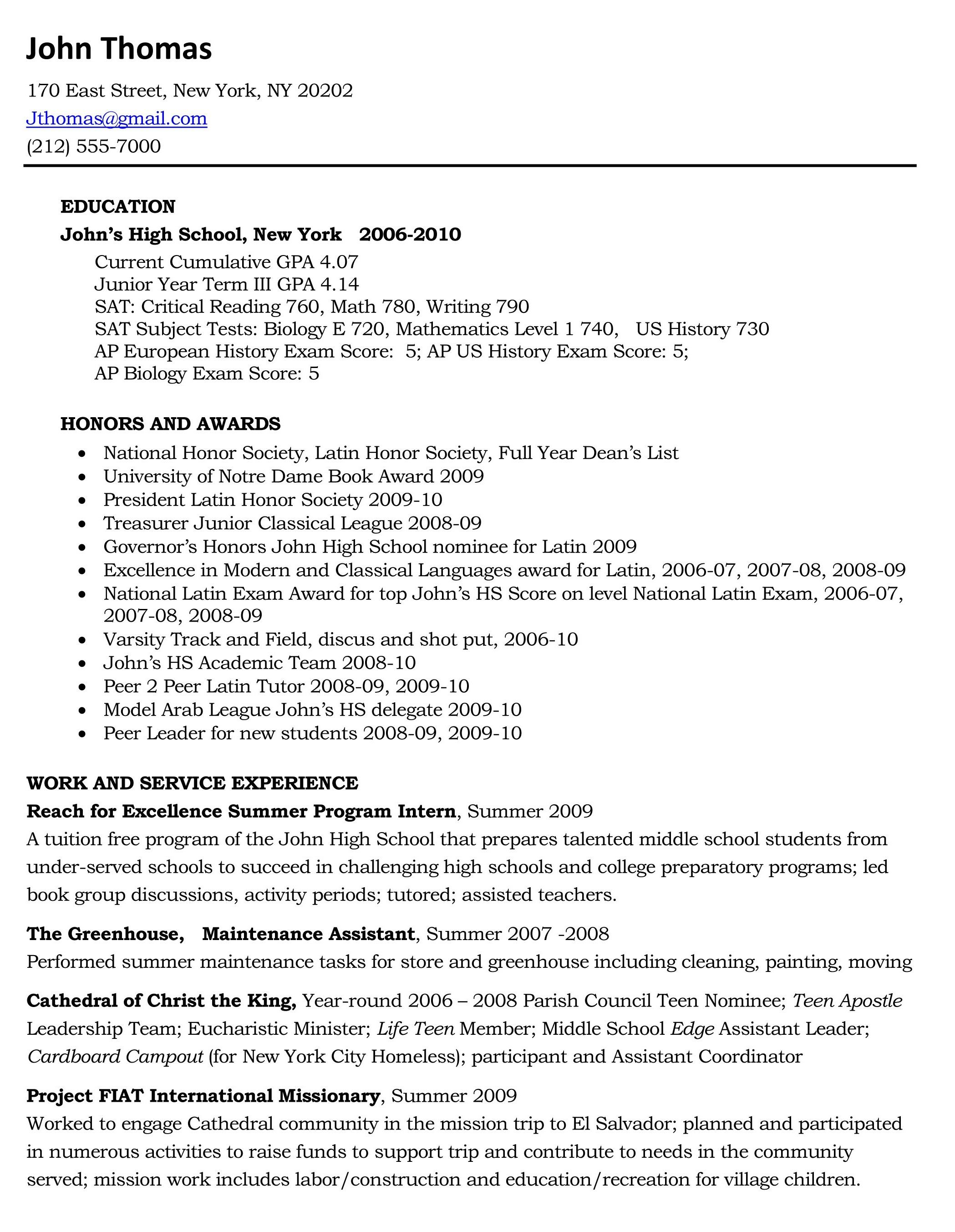 College Sample High School Resume For Application New Admission