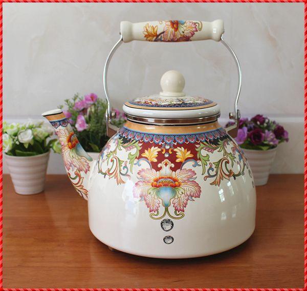 【可煮藥】4L新款滿花搪瓷水壺/燒水壺/搪瓷壺 茶壺電磁爐 包郵