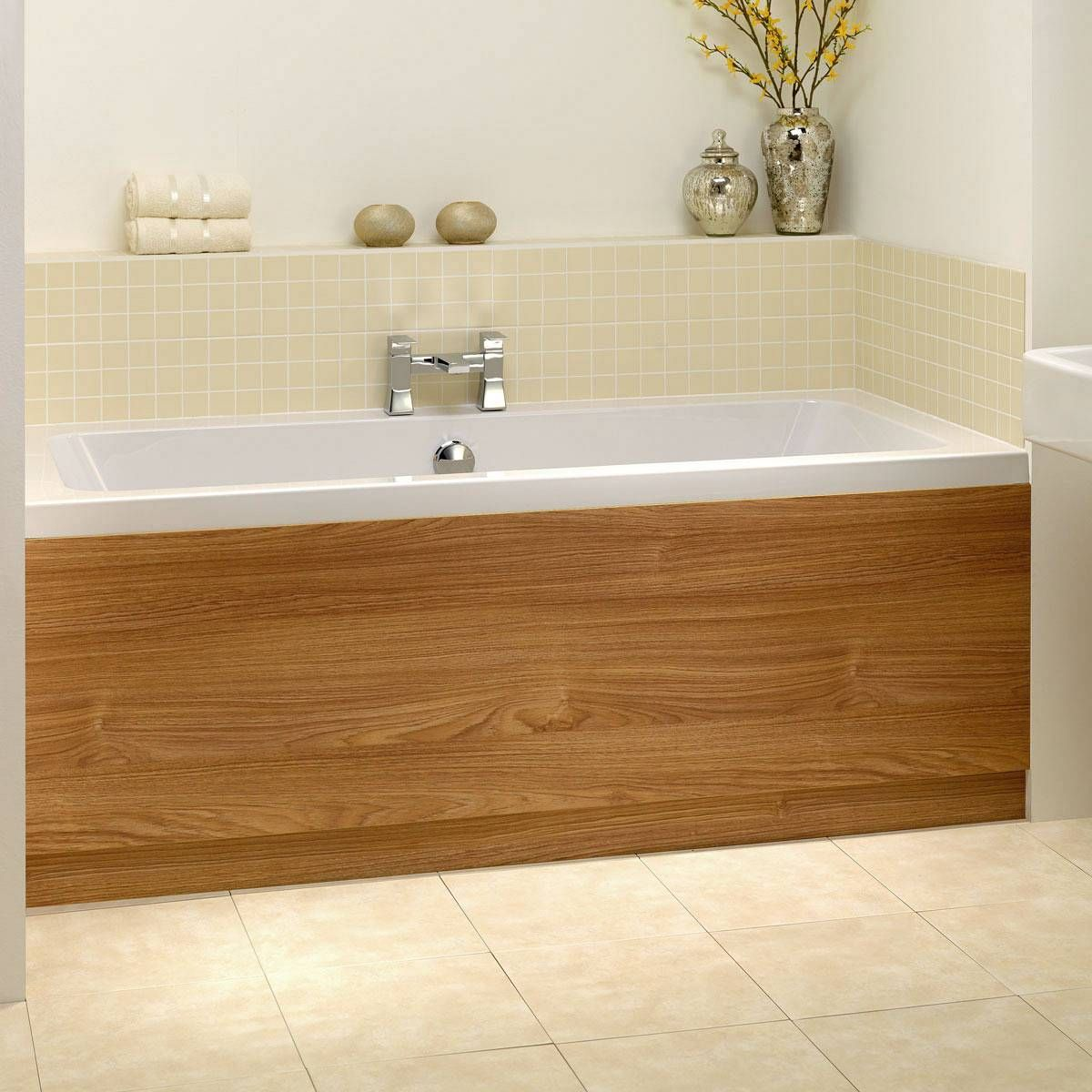 Oak wooden bath panel 1700 victoria 49 or in white for Salle de bain baignoire d angle zen