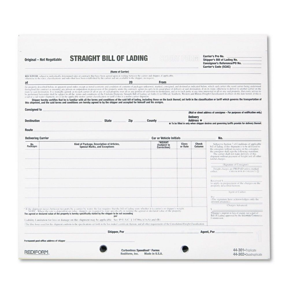 Rediform Bill Of Lading Short Form 8 1 2 X 7 Three Part Carbonless 250 Forms 44301 In 2021 Bill Of Lading Bills How To Get Money