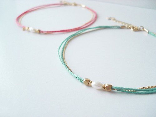 fresh water pearl and metal beads, cord anklet (cherish pink)