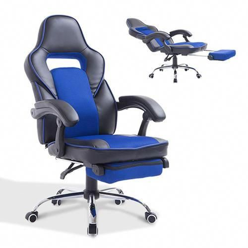 best buy computer chair swivel cushions homcom office modern high back mesh pu seat task desk with footrest black blue chairs canada buyofficechair
