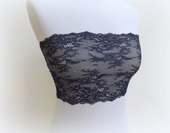ad217198583 Navy blue floral lace bandeau top. Elastic lace strapless. Blue lingerie.  Wireless bra.