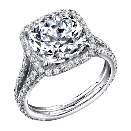Stunning Gold Red Carpet Diamond Engagement Ring Featuring Round Brilliant Cut Diamonds And A Beautiful Cushion Halo