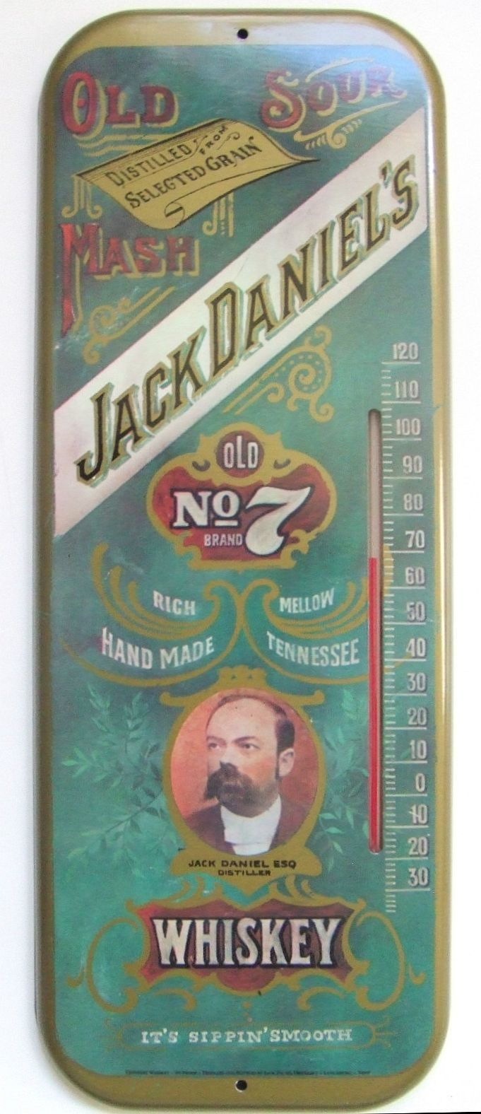 Jack Daniel's Antique Thermometer  (Old Sour Mash Old No 7 Whiskey, Vintage Advertising Thermometers)