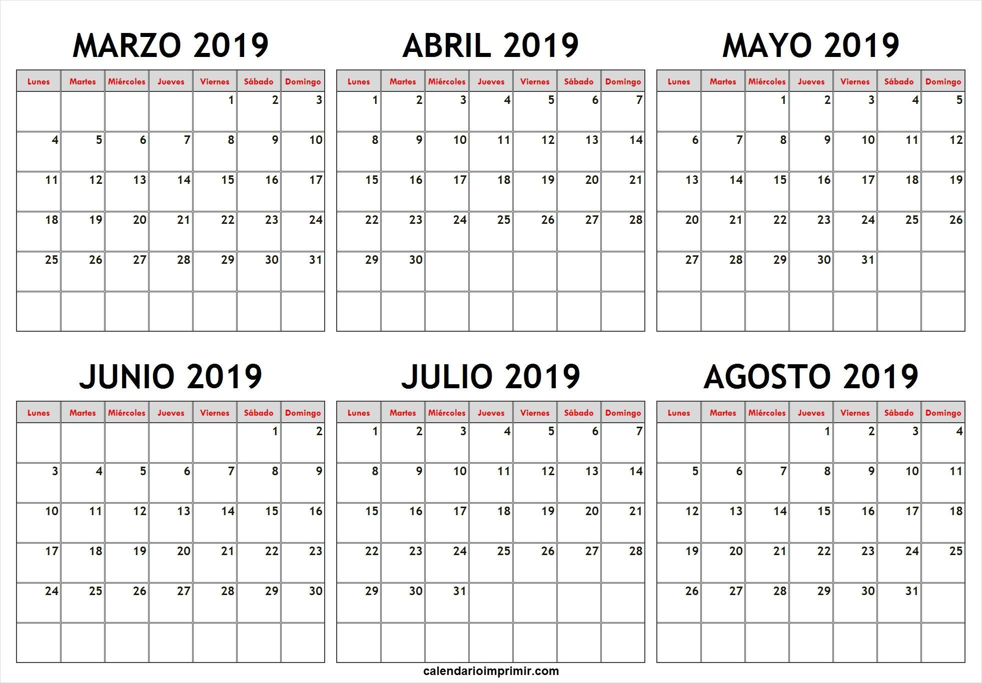 Calendario 2019 Julio Agosto Y Septiembre.Calendario Marzo Abril Mayo Junio Julio Agosto 2019 March