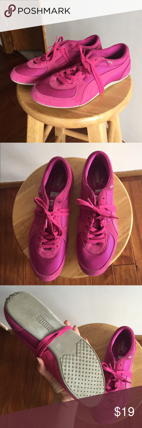 Puma running shoes These pink Puma running shoes are lightly worn and in great condition! Make me an offer  Puma Shoes Sneakers