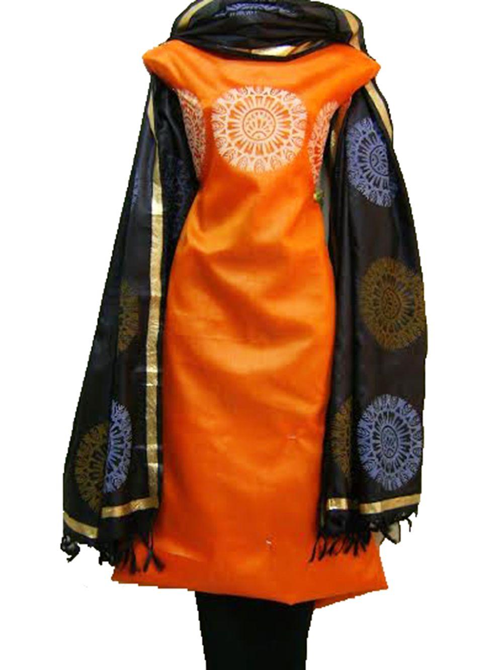 d552e7df45 Tussar Silk Fabric with Dupatta, Tussar silk Suits online, Tussar SIlk  salwar suits