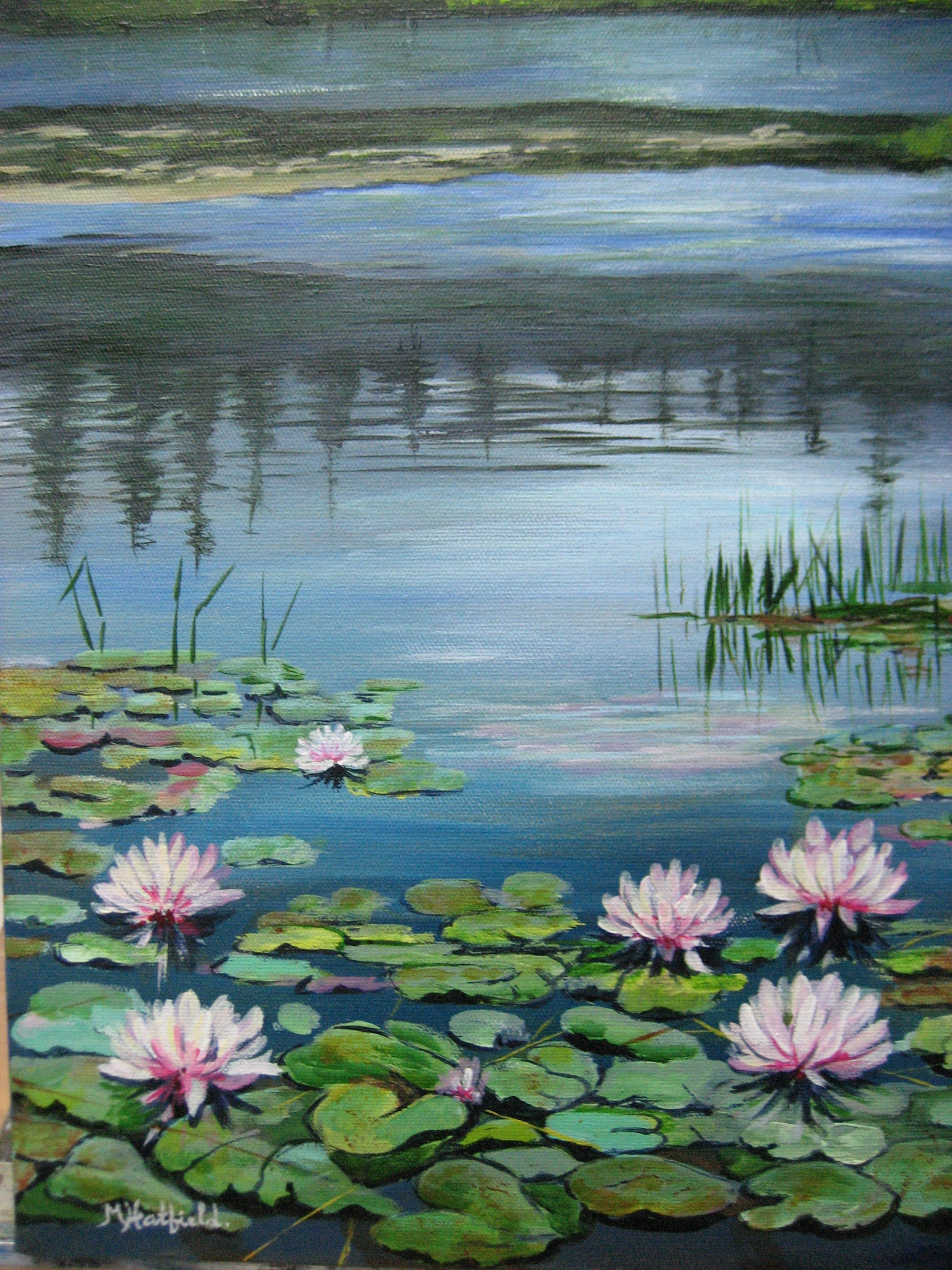 Pink Water Lilies in acrylic by M. Hatfield Florals