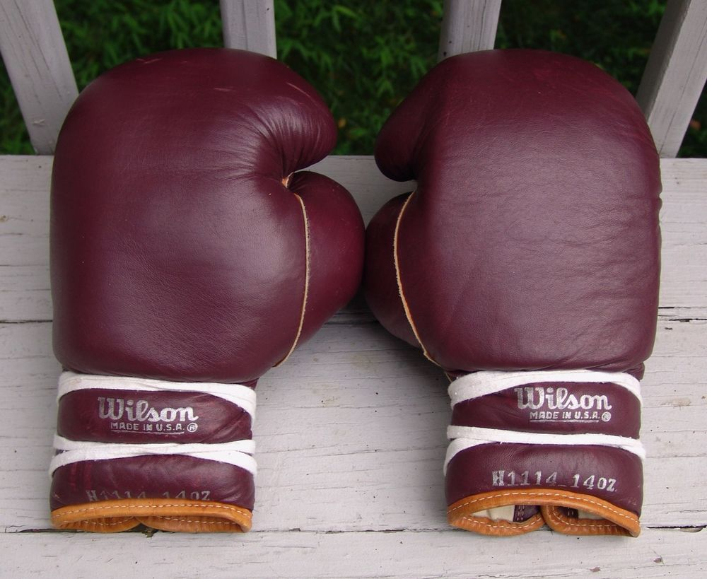 Vintage Wilson H1114 14oz Red Leather Boxing Gloves Made In USA Rare