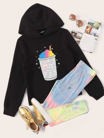 Graphic Print Hoodie  Tie Dye Leggings Set  SHEIN APP Download to enjoy US3OFF