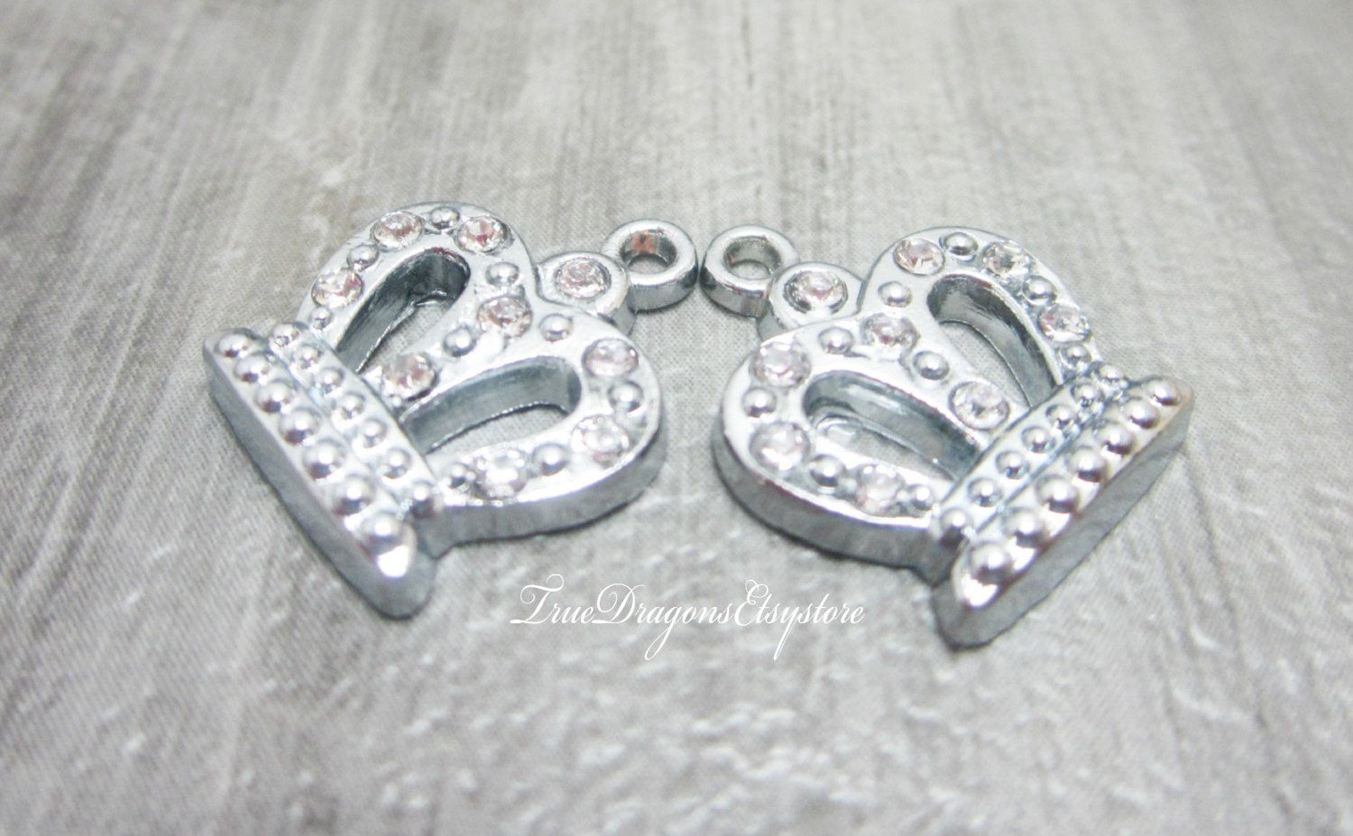 2 Rhinestone Crown Charms Pendants King Queen Crowns Royalty Your Highness by TrueDragonsEtsystore on Etsy