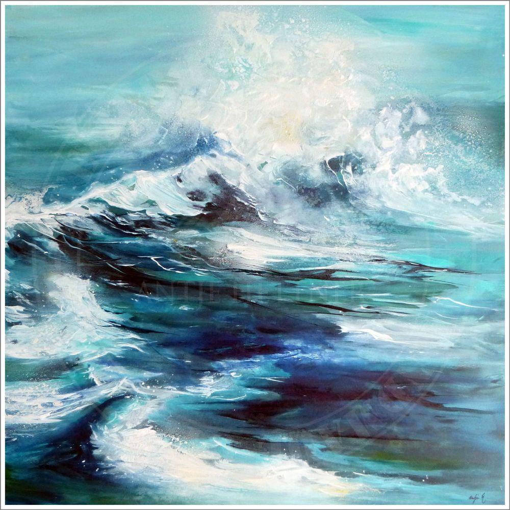 Antje hettner bild original kunst gem lde leinwand malerei xl abstrakt meer neu ocean sea - Gemalte bilder auf leinwand abstrakt ...