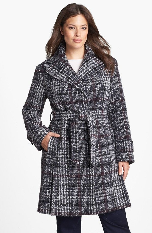 Gotta Have It: DKNY Plus Size Tweed and Plaid Trench #gottahaveit