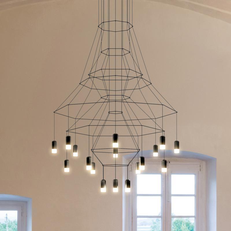 vibia wireflow led pendelleuchte 20 flammig kronleuchter. Black Bedroom Furniture Sets. Home Design Ideas