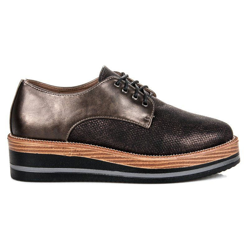 Kylie Stylowe Polbuty Na Koturnie Brazowe Dress Shoes Men Oxford Shoes Shoes
