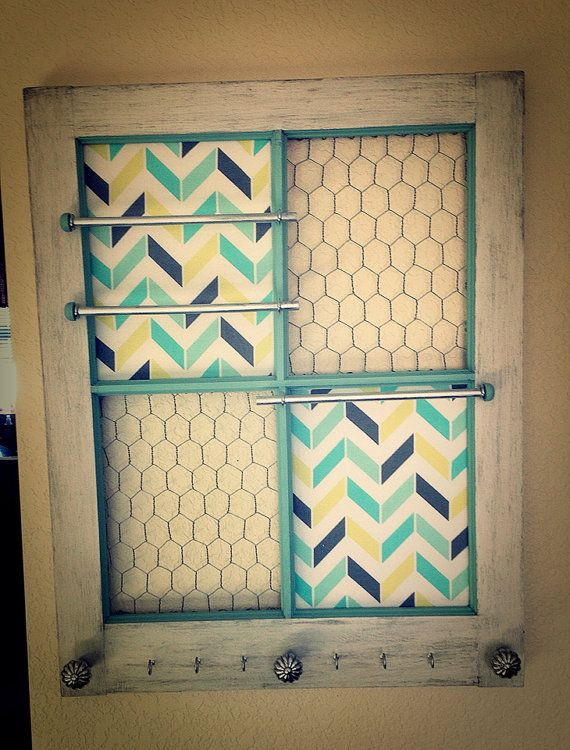 Deluxe size 35 x 29 wooden window Jewelry Organizer Repurposed