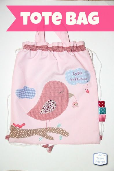 Tote bag infantil que se puede usar como mochila para la guardería.