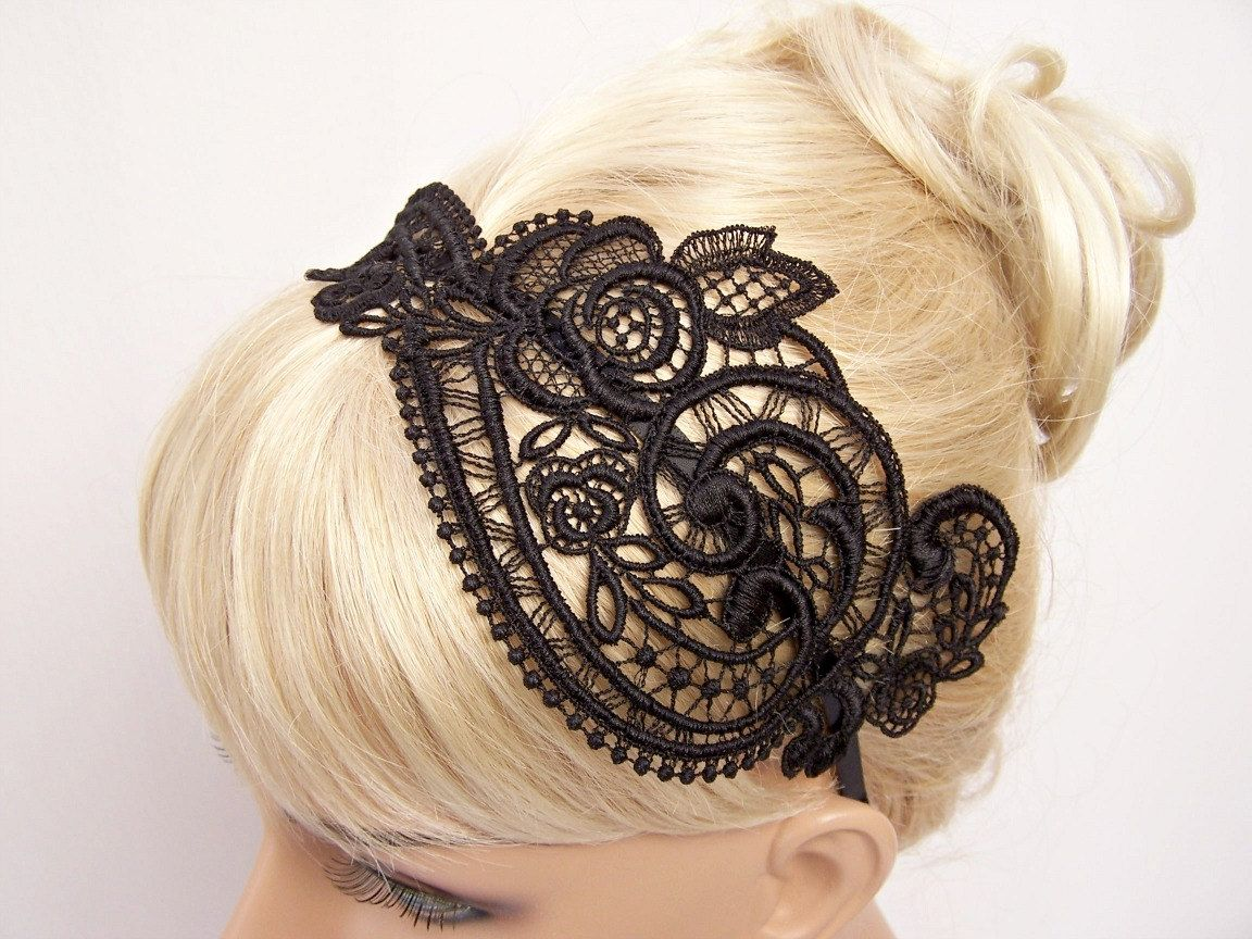 Anemone black lace headband fashionshopping pinterest lace
