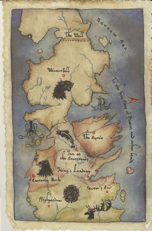 Explore the 7 kingdoms of westeros in hbos game of thrones map this makes loyalties so much easier to remember gumiabroncs Gallery